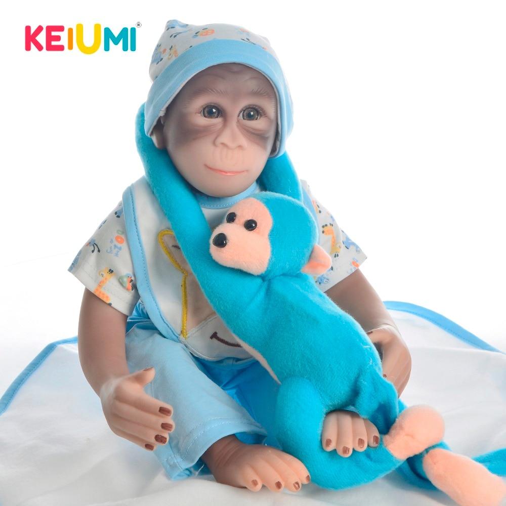 KEIUMI nowy dostosowane małpa Model Doll 19 ''Reborn Baby Doll miękkie silikonowe ciało 46 cm urocze Reborn zabawki dla zwierząt towarzysze zabaw dla dzieci w Lalki od Zabawki i hobby na  Grupa 1