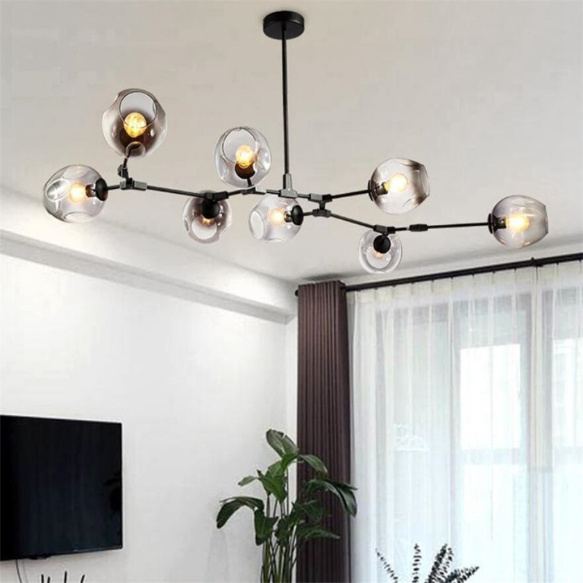 European LOFT Branching Bubble led Chandelier 110v 220v Modern glass ball Chandelier Lighting Suspension Fixtures 10 lights