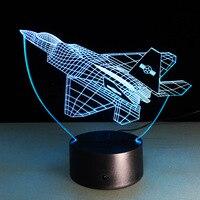 NOVAS Aeronaves 3D Luzes Da Noite lâmpada de Mesa Multi Cores Militar Avião a Jato Lutador Avião de Guerra com Alimentação USB Presente Decor