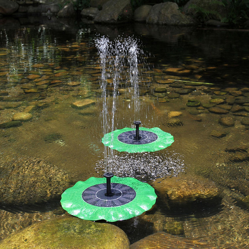 AKDSteel Waterproof Solar battery fountain Green Decorative Water Pump Fountain Pond Brushless Lotus Leaf Portable for Garden