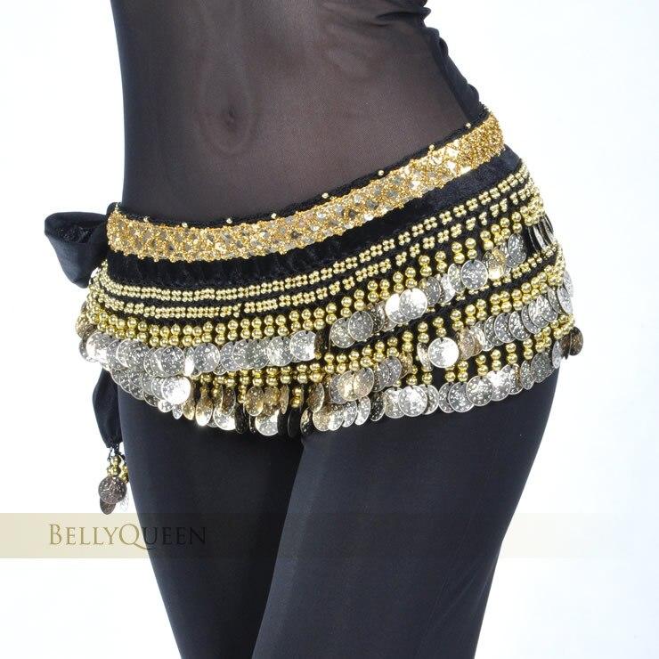 2020 bauchtanz kostüm kleidung indischen tanz gürtel bauchtanz taille kette hip schal frauen mädchen dance mit 248 gold münze 10 farbe