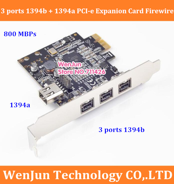 High Quality 3 Ports 1394b+ 1 Port <font><b>1394a</b></font> <font><b>PCI</b></font>-e Expanion Card External Firewire 800 <font><b>PCI</b></font> Express IEEE1394B complian with <font><b>1394a</b></font> image