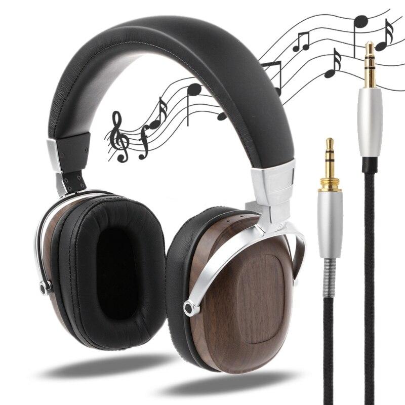 1 Set nouveau casque OOTDTY bobine mobile casque B8 stéréo en bois métal sur l'oreille noir acajou écouteur