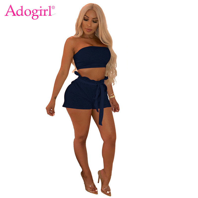 Adogirl Solid Women Two Piece Set Strapless Crop Top + Ruffle Bow Tie Waist Shorts Sexy Night Club Suits Outfit Female Tracksuit