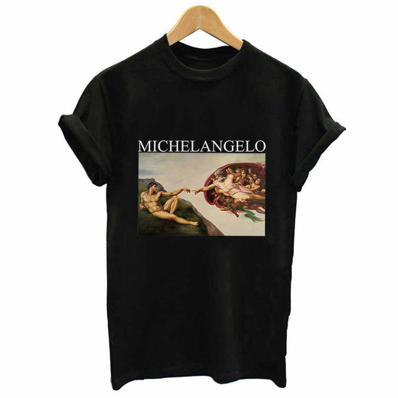 2018 Fashion Michelangelo Sistina Art Print Women T Shirts Loose Short Sleeved O-neck Casual Tumblr Pink Tops Harajuku Tees