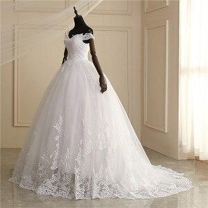 Image 4 - 2020 luksusowe koronki Boat Neck suknia suknie ślubne Sweetheart Sheer powrót księżniczka Illusion aplikacja suknie ślubne Casamento