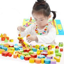 26個木のおもちゃ赤ちゃんdiyのおもちゃの漫画フルーツ動物糸スレッディング木製のビーズのおもちゃmonterssori子供のための教育gyh