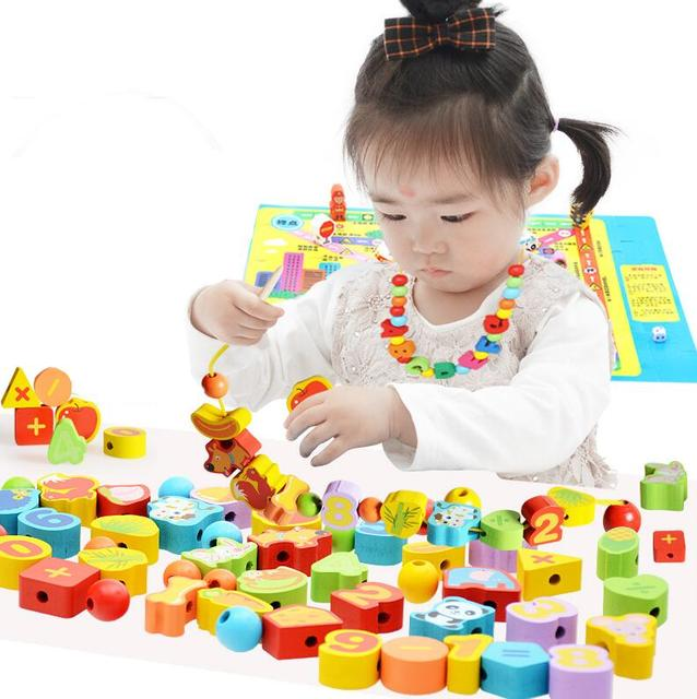 26Pcs Wooden toys Baby DIY Toy Cartoon Fruit Animal Stringing Threading Wooden beads Toy Monterssori Educational for Kids GYH