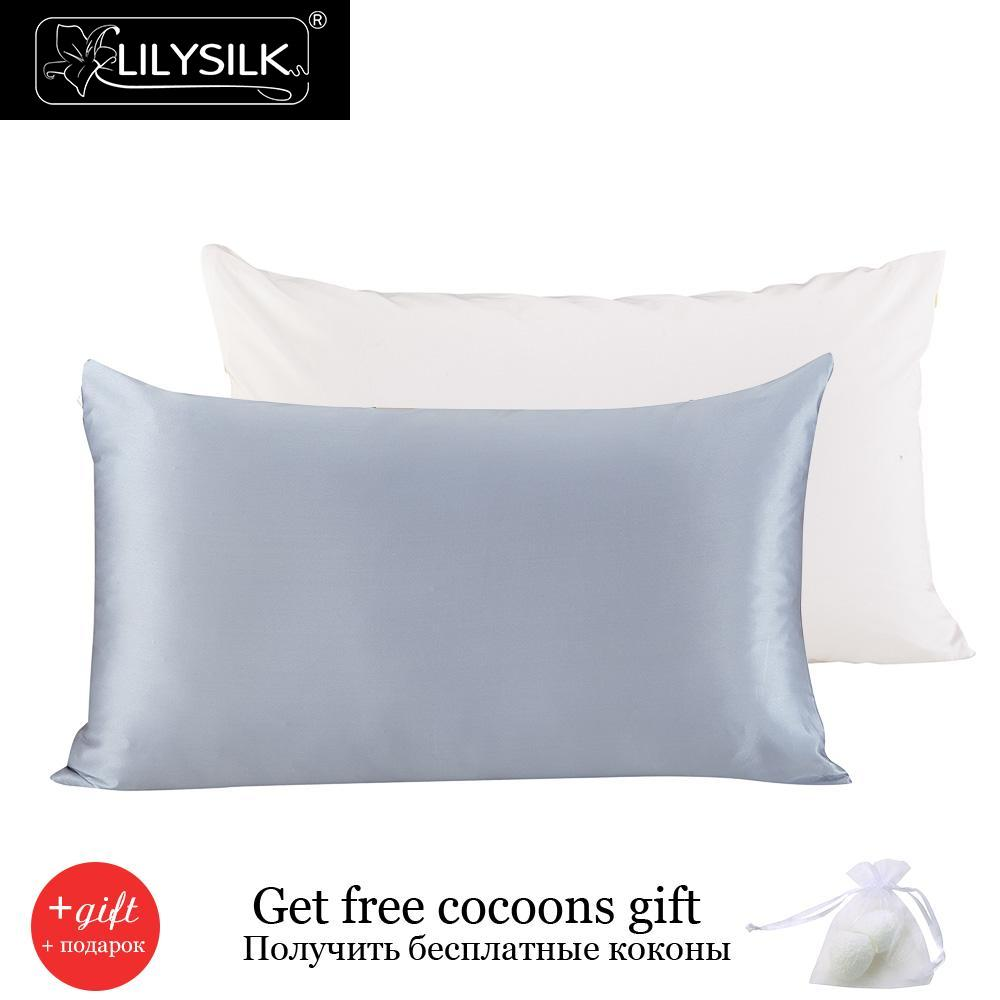 lilysilk 100 pure mulberry silk pillowcase with cotton terse pillow cover for hair with hidden - Silk Pillow Case