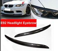 2PCS Car Real Carbon Fiber Headlight Eyebrow Eyelids For BMW E92 E93 335I 335CI Model 2007 2012 Trim Cover Sticker Car Styling