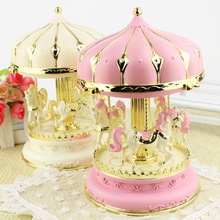 Lovely Music Box Light Carousel Music Boxes for Children Creative Craft Gifts Girl Birthday Gift Holiday Present Home Decoration