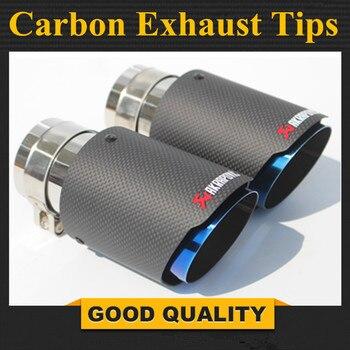 최신 스타일 탄소 섬유 + 블루 스테인레스 스틸 유니버설 배기 시스템 엔드 파이프 + 블랙 카본 akrapovic 자동차 배기 팁 2 조각
