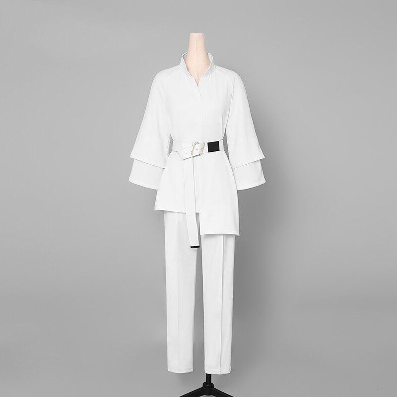 2 조각 세트 사무실 숙녀 바지 정장 여성 작업복 정장 스탠드 칼라 불규칙한 셔츠 + 하렘 바지와 새시 ab171-에서여성 세트부터 여성 의류 의  그룹 2