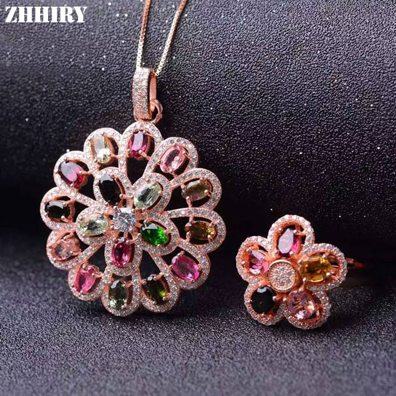 ZHHIRY Natural Tourmaline Gemstone Jewelry Sets Genuine 925 Solid Sterling Silver Women Ring And Necklace Pendant Set Fine Jewel jewelry set natural pearl necklace and drop earring gemstone jewelry 925 sterling silver party necklace double layers fine jewel