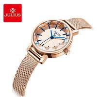 Julius simples aço inoxidável malha cinto mulher relógio multi-facetado mesa de corte mirror quartzo relógios de pulso vestido presentes