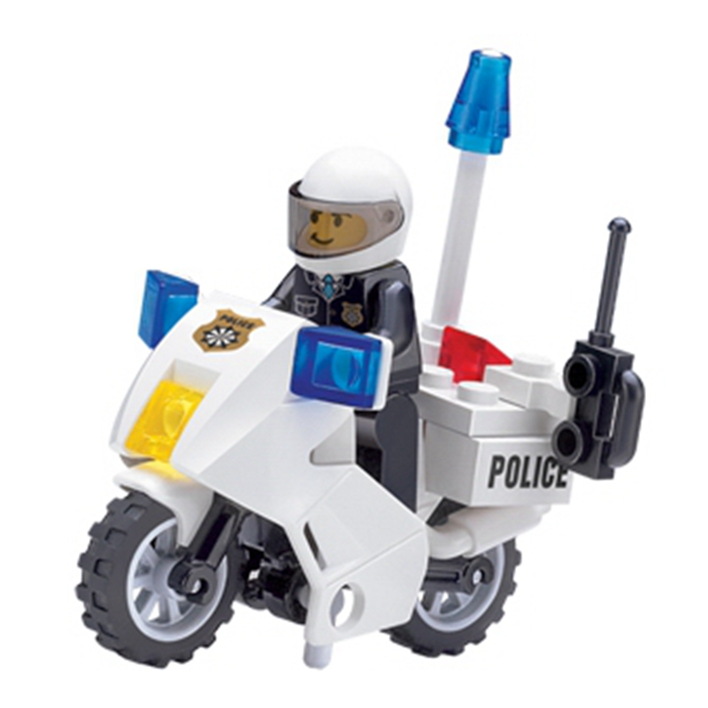 30Pcs/set High Quality Police Motorcycle Playmobile Building Blocks Bricks Kids Boys Birthday Gift Toys for Children Compatible