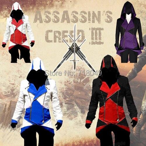 Assassins Creed 3 III Conner Kenway Capucha Capa de la Chaqueta de Anime  Cosplay Traje de f944be92b256