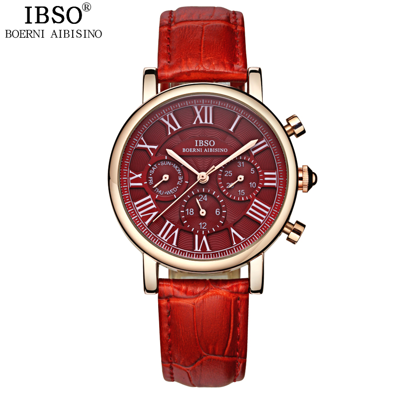 IBSO Week Display Watches For Women Complete Calendar Multifunction Female Watch Genuine Leather Strap Dial Reloj Mujer 2016 New 2016 weiqin famous brand business women watch 5 atm leather strap analog calendar function female quartz watch reloj mujer