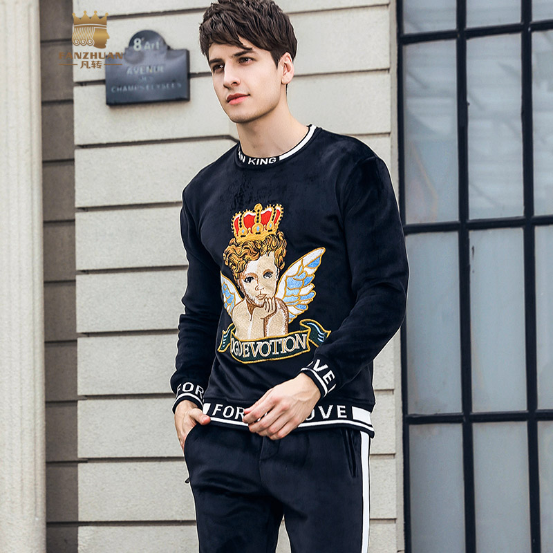 FANZHUAN Free Shipping New winter 2018 male Men's man long sleeved Thickened suede Embroidered shirt pants 2 pieces set 821026 - 2