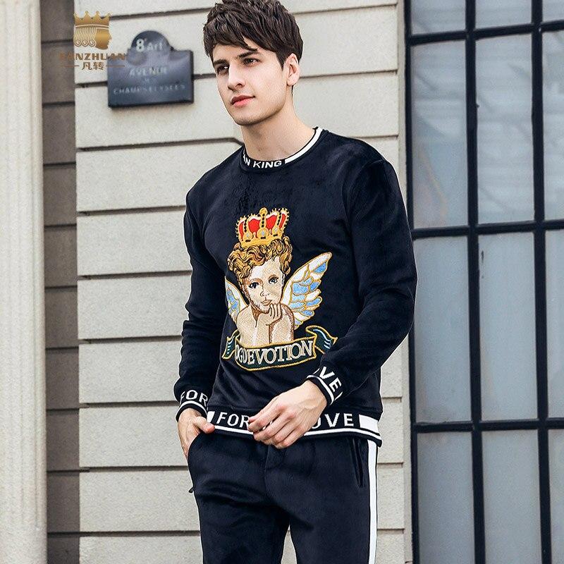 Fanzhuan frete grátis novo inverno 2018 masculino homem de manga comprida engrossado camurça bordado camisa calças 2 peças conjunto 821026 - 2