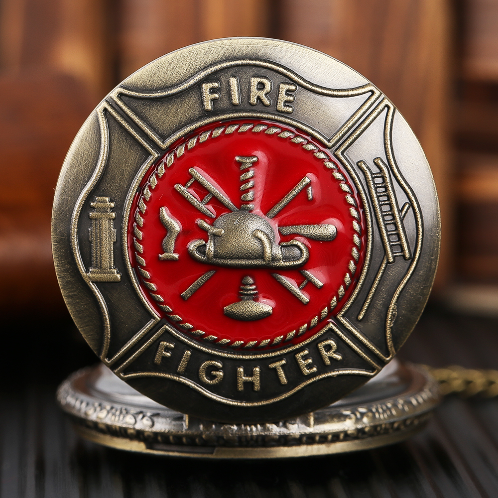 Red Fire Fighter Theme Pocket Watch Mens Copper Hero Pendant Quartz Women Watches Vintage Ladies Necklace Clock With Gift Bag old antique bronze doctor who theme quartz pendant pocket watch with chain necklace free shipping