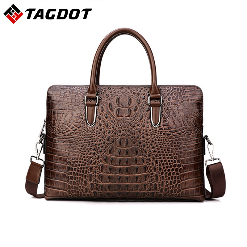 Crocodile Genuine Leather Luxury Laptop bags for Men Cow Leather Notebook bag Fashion briefcase Casual Business Travel bag 2017