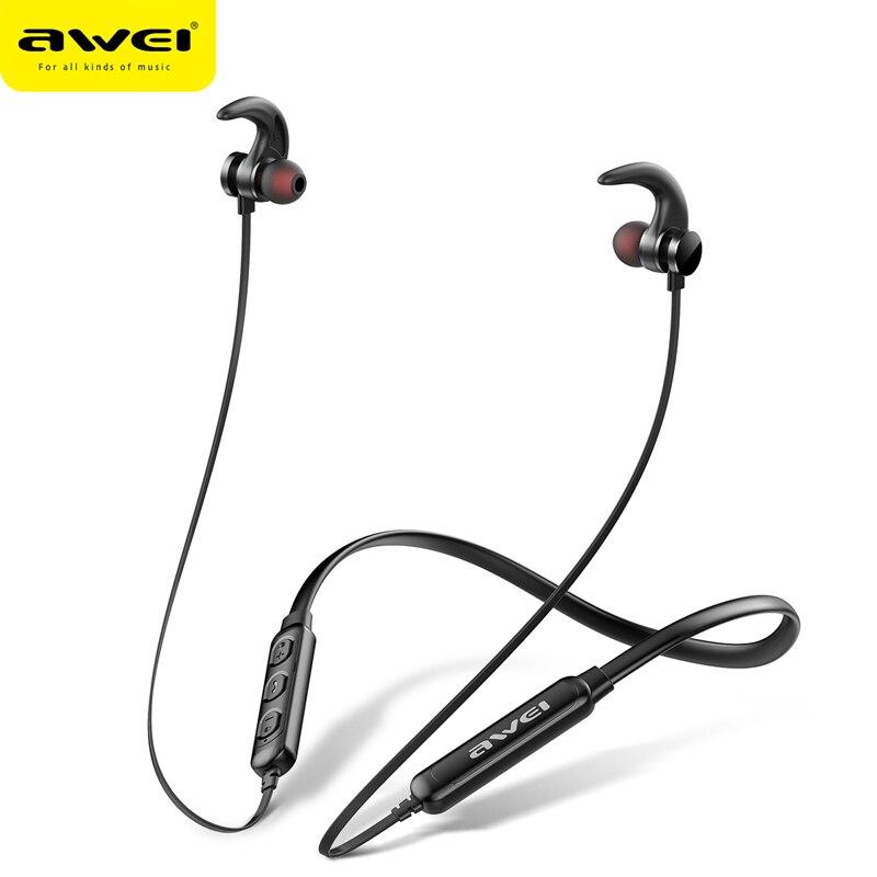 AWEI T11 auriculares inalámbricos T11S auricular Bluetooth auriculares para teléfonos de banda para el cuello de deporte 3D Bass auriculares con micrófono fone de ouvido
