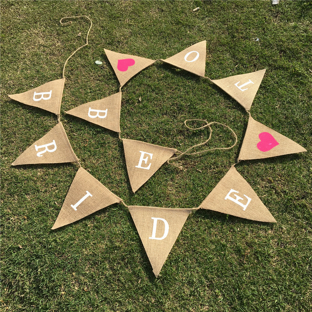 Wedding Banners Bride To Be Linen Pulling Flag Banners Love Heart ...