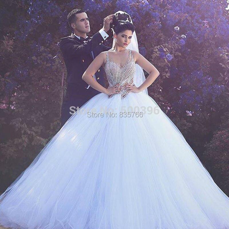 <font><b>Stunning</b></font> New <font><b>Nude</b></font> Vestido De Novias Princess Wedding Dress Sexy Pearl Beading Bridal Gown Wedding Dresses 2016 robe de mariage