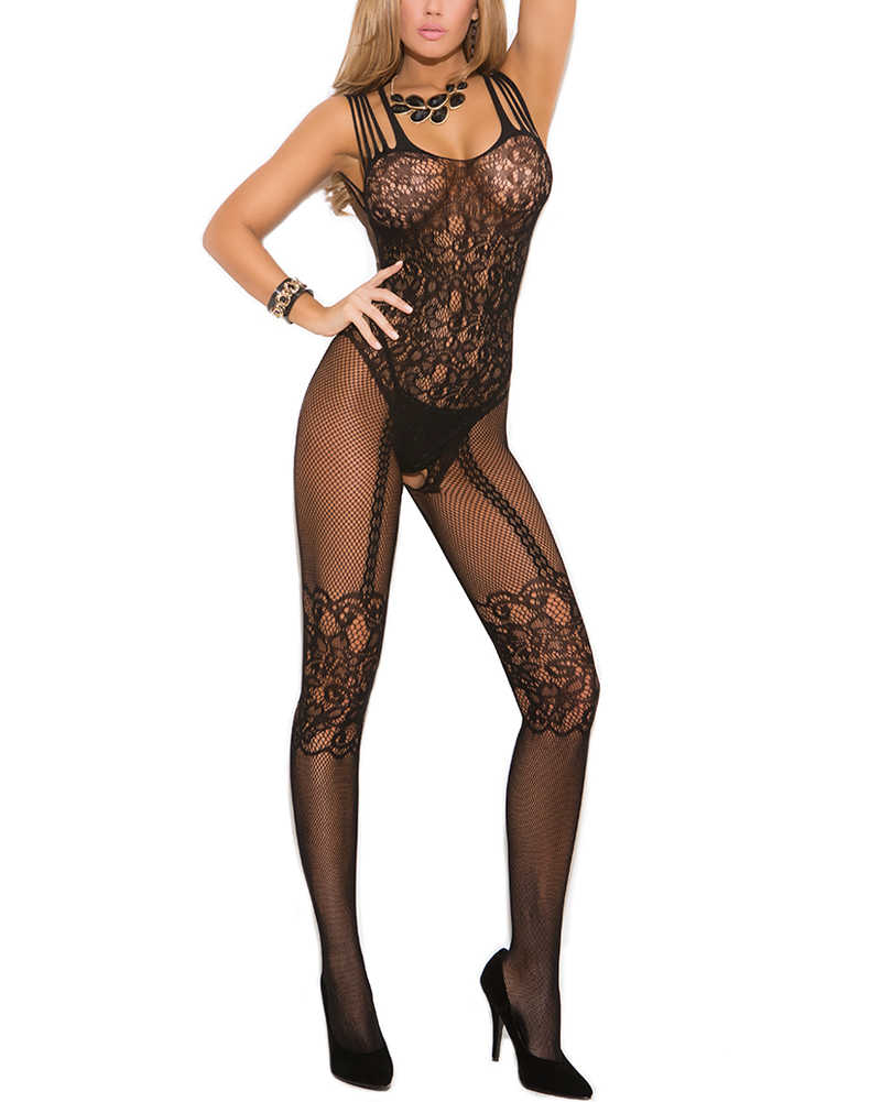 34ef1ce81 ... Sexy Women Bodystocking Lingerie Fishnet One Piece Jumpsuits Sheer Lace  Mesh Bodycon Bodysuits Babydoll Nightwear ...