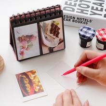 Moda Bonito Mini Álbum de fotos Para Fotos de 3 Polegada 68 Fotos Desk Stand Fio Vinculativo Espiral Álbum de fotos