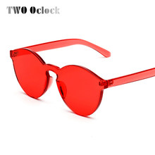 71a4e875fd3 TWO Oclock Stylish Transparent Cat Eye Sunglasses Women Men Luxury Designer  Clear Sun Glasses Integrated Goggles Red Candy 9803
