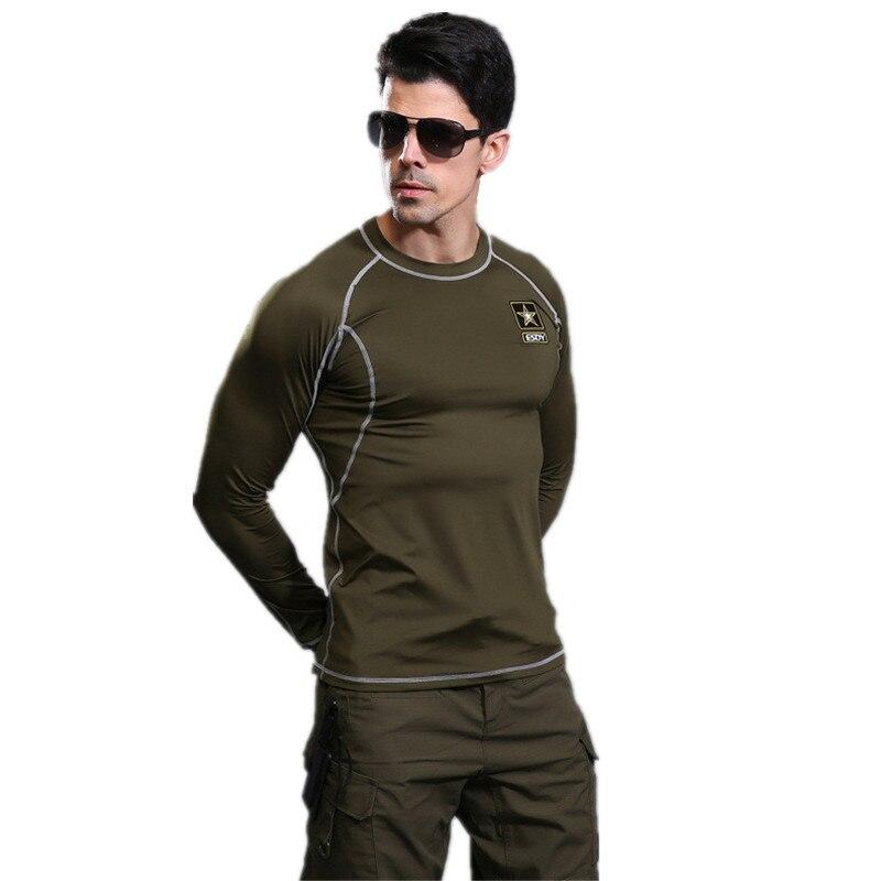 Masculino Militar alta elástico entrenamiento Medias color sólido transpirable Ropa interior al aire libre de secado rápido manga larga Camisas hombres Tops