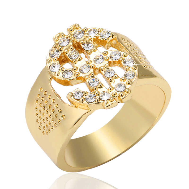 SONYA Fashion Rock Iced Out Bling Gold Color US Dollar Sign Signets Rings  for Men Jewelry cc28e2653c53