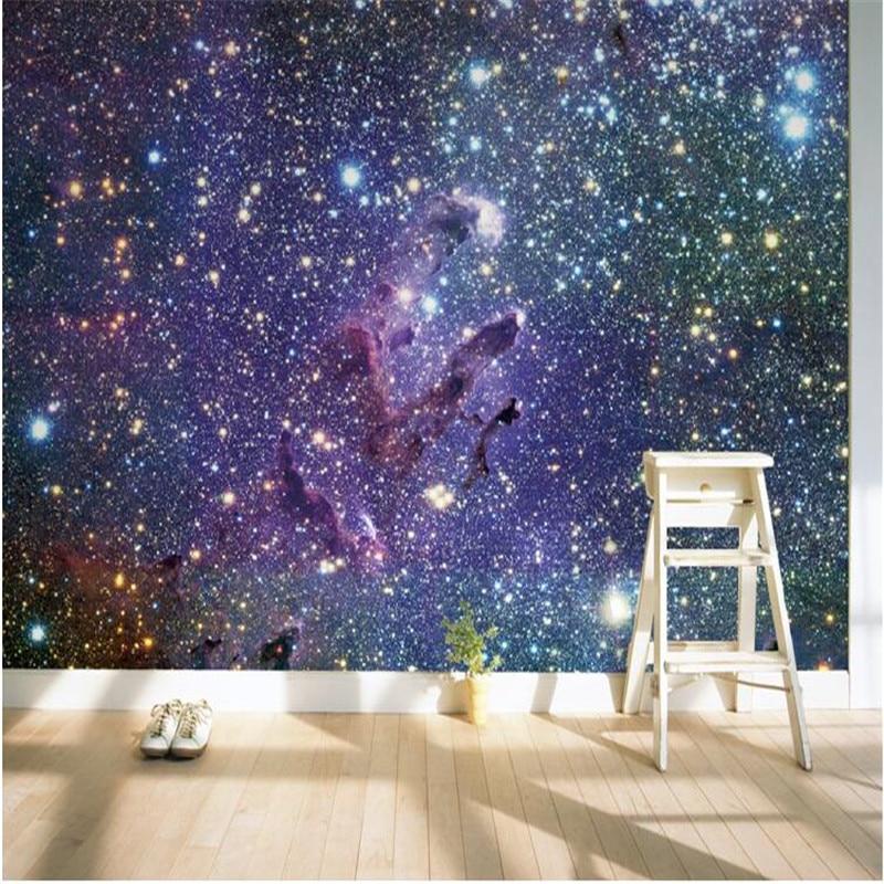 Mural wallpaper for living room outside the sky galaxy for Galaxy wallpaper for rooms