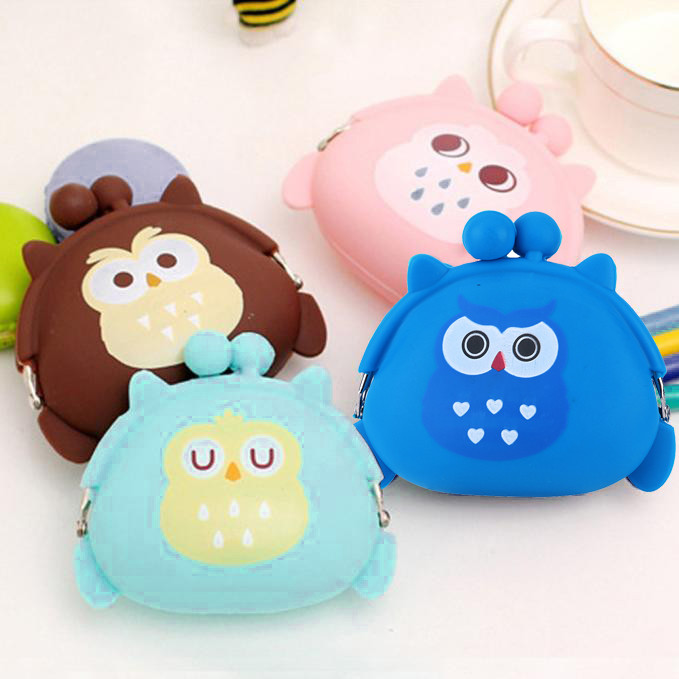 Aelicy Luxury Cute Cartoon Owl Silicone Jelly Change Bag Keys Pouch Coin Purses Women Purse for Children's Wallet Kids Wallets(China)