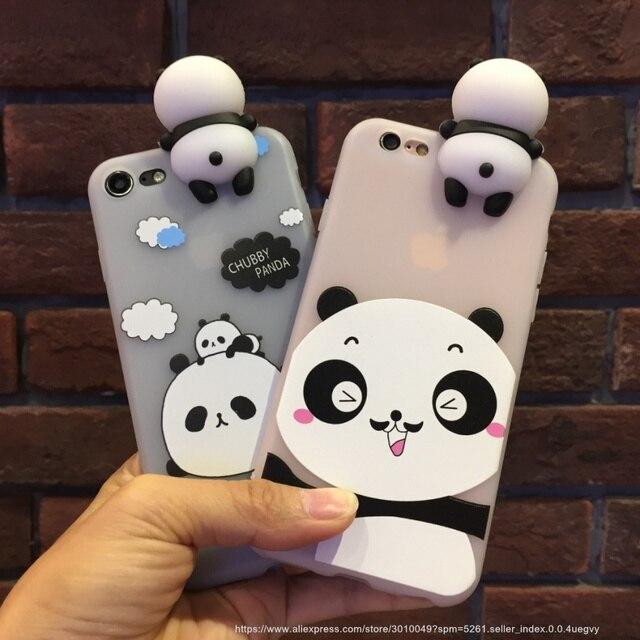 Kawaii 3d Doux Mignon Panda Telephone Cas Pour Iphone 7 6 S 6 Plus