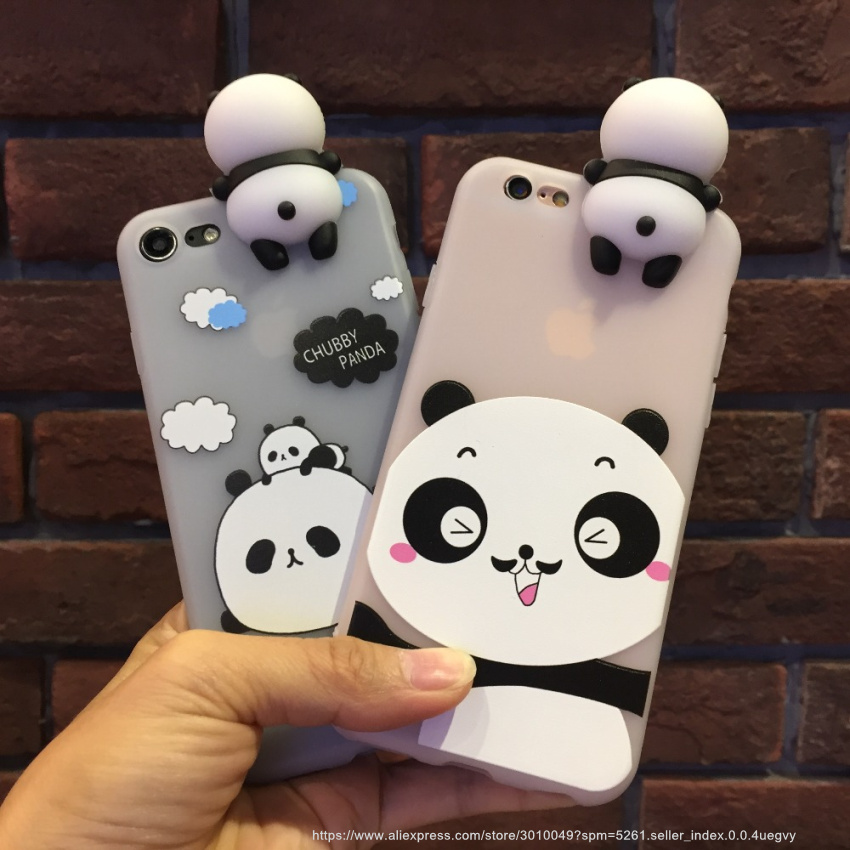 Kawaii 3D Soft Cute Panda Phone Case For iPhone 7 6S 6 Plus Lovely Cartoon Silicone Cover For
