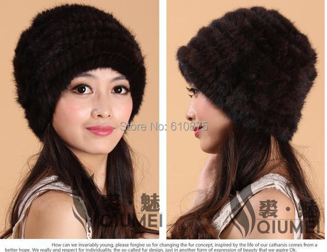 Mujer de invierno más tamaño Engrosamiento de la piel de fox casual skullies banies cap mujer térmica sombrero de piel de visón de punto caliente de CONTROL de calidad