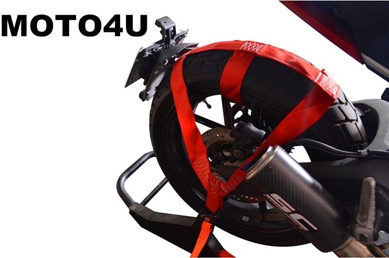 MOTO4U Motorbike Motorcycle REAR Wheel Handlebar Transport Bar Tie Down Strap Red