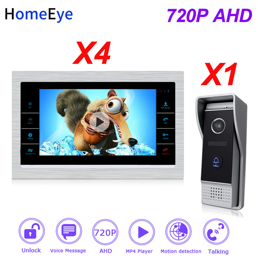 HomeEye 720P 7inch HD Video Door Phone Video Intercom House Door Control Speaker System Motion Detection Door Bell Voice Message