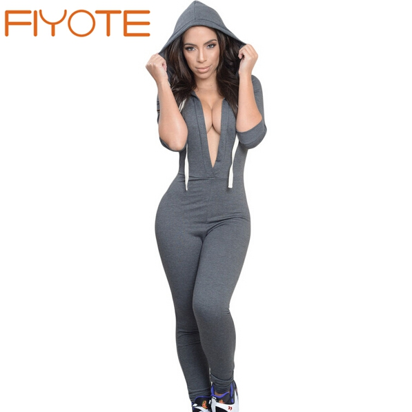 883444fcd3f8 Fiyote sexy casual style heather grey charcoal drawstring hooded jpg  597x597 Styling hooded jumpsuit