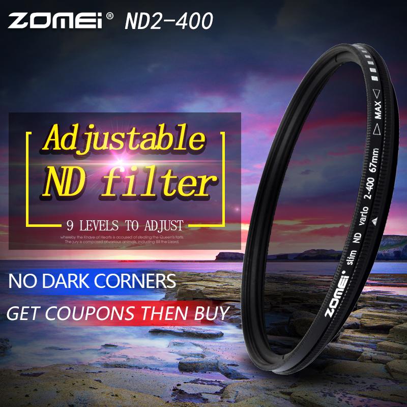 Prix pour ZOMEI Slim Réglable Densité Neutre ND2-400 Filtre pour Canon Nikon Caméra Lentille 49/52/55/58/62/67/72/77/82mm