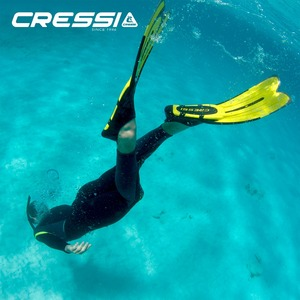 Image 2 - Cressi Agua Diving Fins Swimming Snorkeling Fin for Adults Long Blade Blue Yellow Aquamarine