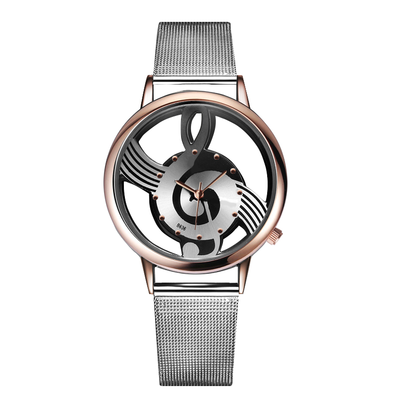 New Luxury Lover's Watch Fashion & Casual Music Note Notation Watch Stainless Steel Wristwatch Men And Women Silver Color Watch