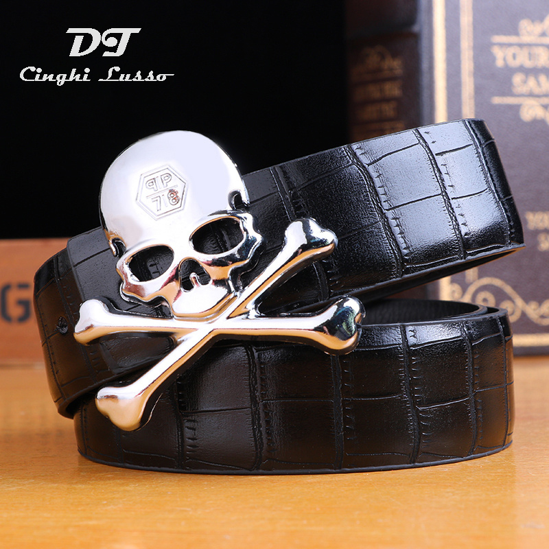 CINGHI LUSSO Leather Waist   Belt   Skull Smooth Buckle Long Waistband Male Luxury Brand Designer Strap Cheap   Belt   Lots Gift for Men