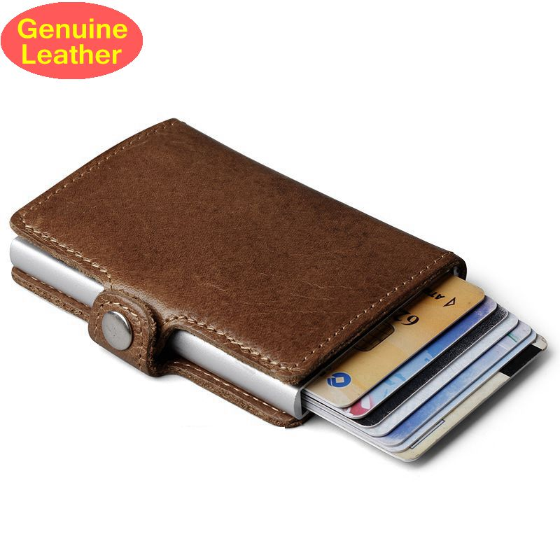 Genuine Leather Men Aluminum Wallet Back Pocket ID Card holder RFID Blocking Mini Magic Wallet Automatic Credit Card Coin Purse(China)