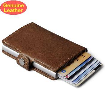 Kulit Asli Pria Aluminium Wallet Kembali Saku Kartu ID Pemegang RFID Memblokir Mini Magic Dompet Otomatis Kartu Kredit Dompet Koin