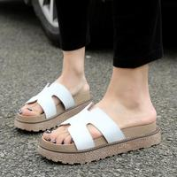 D H Shoes Woman Plus Size 34 43 Women Flats Slippers Thickness Bottom Sandals Summer