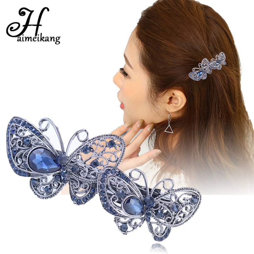 Haimeikang Vintage Crystal Butterfly Hair Clip Barrettes for Women Hair Accessories Rhinestone Flower Hairpin   Headwear